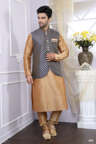 Chikkoo Color Artsilk Men's Readymade Kurta Pyjama - RT-530