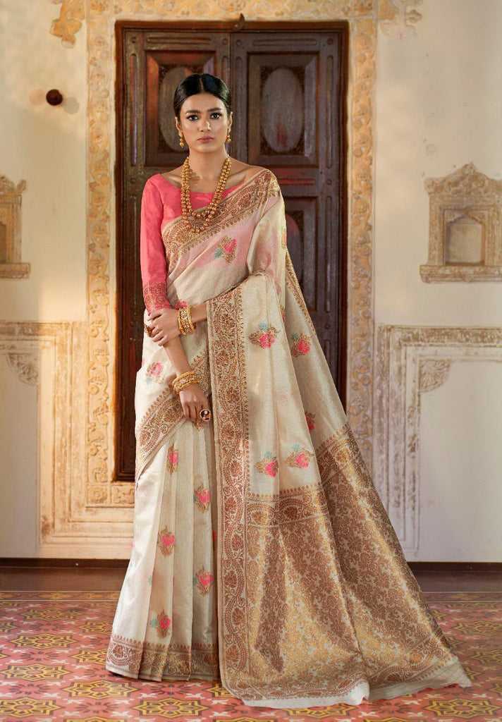 Buy Off White Color Kansula Silk Women's Saree
