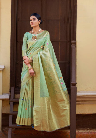 Aqua Green Color Kansula Silk Women's Saree - RT-55199