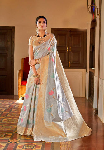 Silver Color Kansula Silk Women's Saree - RT-55201