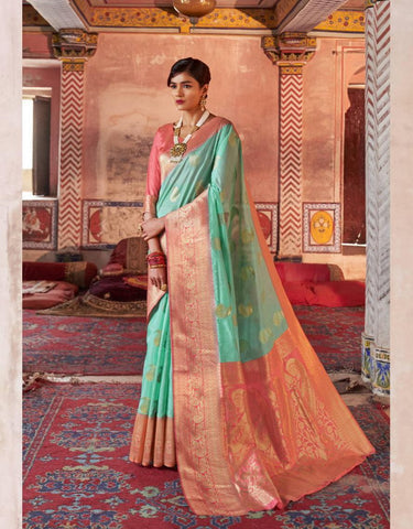 Aqua and Peach Color Crystal Chaap Contrast Pallu Women's Saree - RT-57019
