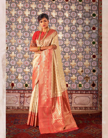 Beige Color Crystal Chaap Contrast Pallu Women's Saree - RT-57028
