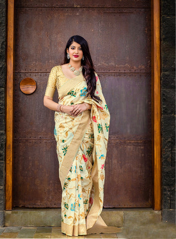 Cream Color Banarasi Silk Women's Classical Designer Saree - RT-60678