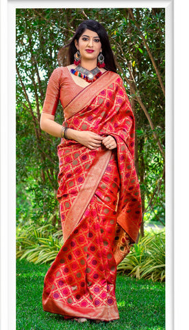 Red Color Banarasi Silk Women's Classical Designer Saree - RT-60680