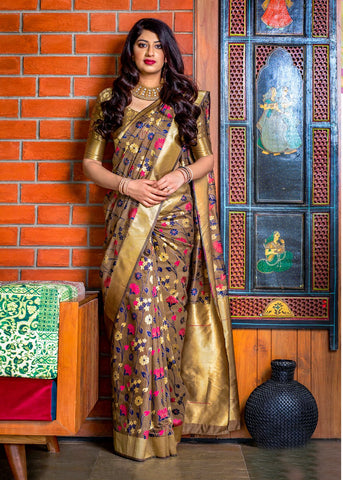 Beige Color Banarasi Silk Women's Classical Designer Saree - RT-60681