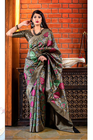 Black Color Banarasi Silk Women's Classical Designer Saree - RT-60682