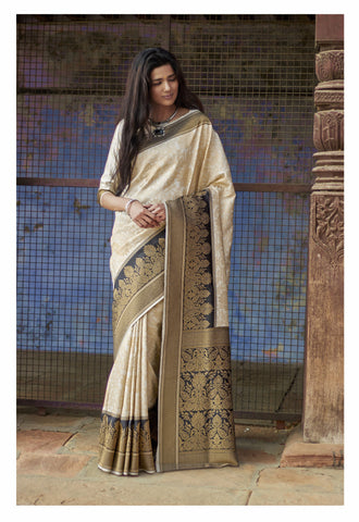 Off White Color Silk Women's Saree - RT-65822