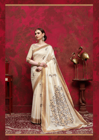 Cream Color Silk Women's Saree - RT-68261