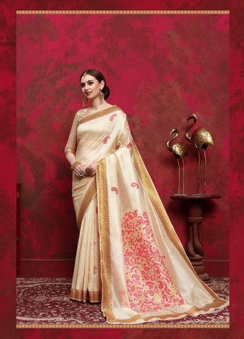 Cream Color Silk Women's Saree - RT-68263