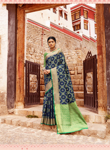 Blue Color Patola Silk Women's Saree - RT-71083