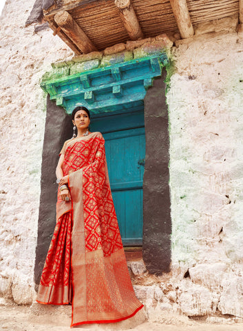 Red Color Patola Silk Women's Saree - RT-71084
