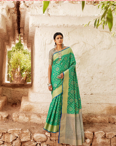 Green Color Patola Silk Women's Saree - RT-71088