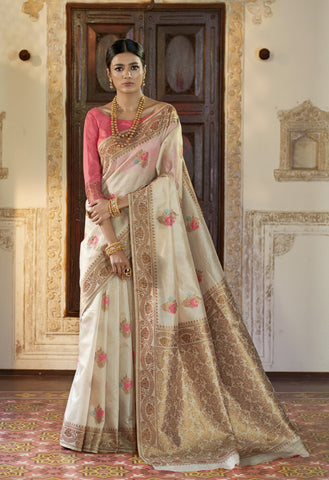 Beige Color Kansula Silk Women's Saree - RT-71146