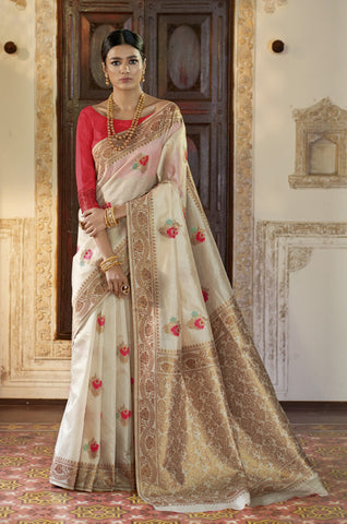 Beige Color Kansula Silk Women's Saree - RT-71148