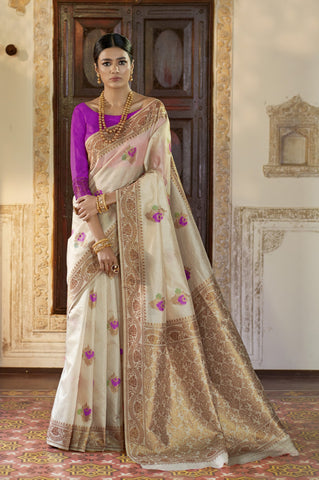 Beige Color Kansula Silk Women's Saree - RT-71149
