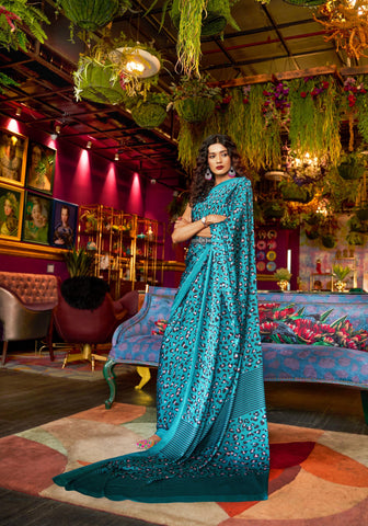 Sea Blue Color Japna Crepe Satin Women's Saree - RT-72563