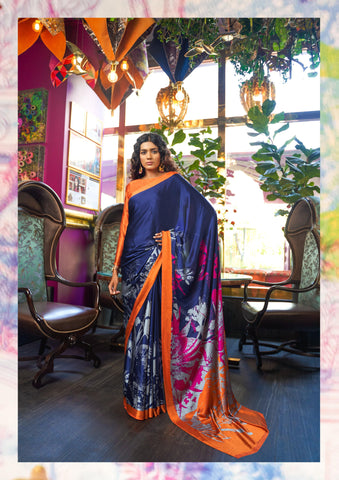 Navy Blue Color Japna Crepe Satin Women's Saree - RT-72577