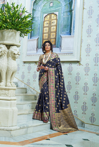 Blue Color Silk With Paithani Silk Border Women's Saree - RT-78115