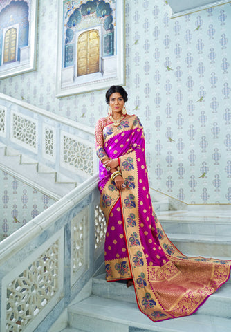 Magenta Color Silk With Paithani Silk Border Women's Saree - RT-78123