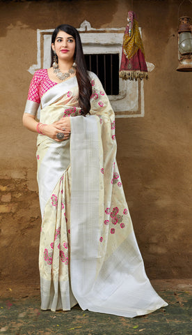 Off White Color Banarasi Silk Women's Jacquard Designer Saree - RT-78752