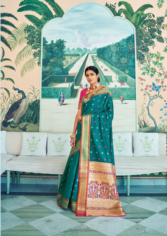 Sea Green Color Pure Paithani Weaving Pallu Women's Saree - RT-78763