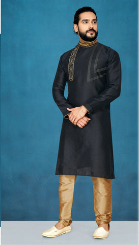 Black Color Raw Silk Men's Readymade Kurta Pyjama - RT-801