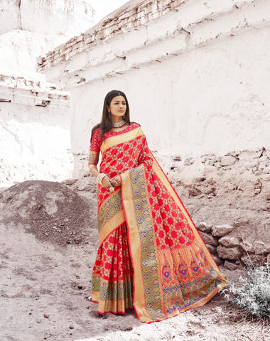 Red Color Patola Silk Women's Saree - RT-80200