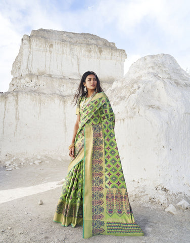Light Green Color Patola Silk Women's Saree - RT-80201