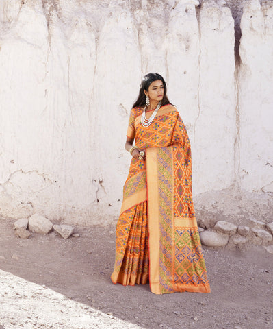 Orange Color Patola Silk Women's Saree - RT-80202