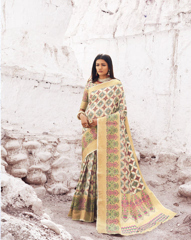 Cream Color Patola Silk Women's Saree - RT-80203