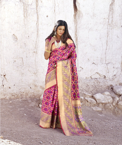 Rani Pink Color Patola Silk Women's Saree - RT-80204