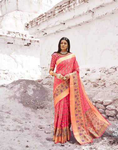 Peach Color Patola Silk Women's Saree - RT-80206