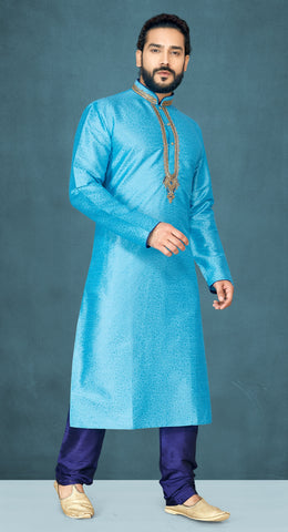Sky Blue Color Emboss Men's Readymade Kurta Pyjama - RT-802
