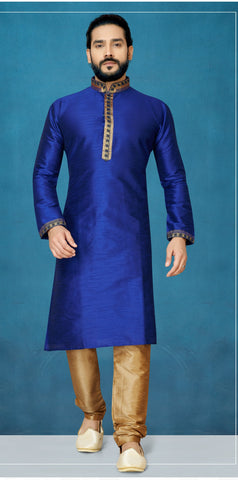 Royal Blue Color Raw Silk Men's Readymade Kurta Pyjama - RT-804