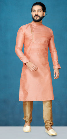 Peach Color Raw Silk Men's Readymade Kurta Pyjama - RT-806