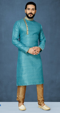 Light Blue Color Jacquard Silk Men's Readymade Kurta Pyjama - RT-807