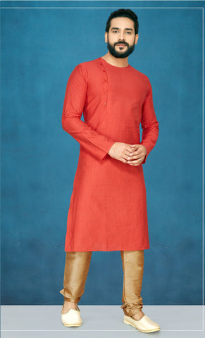 Red Color Slub Men's Readymade Kurta Pyjama - RT-808