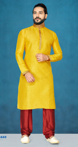 Yellow Color Raw Silk Men's Readymade Kurta Pyjama - RT-809