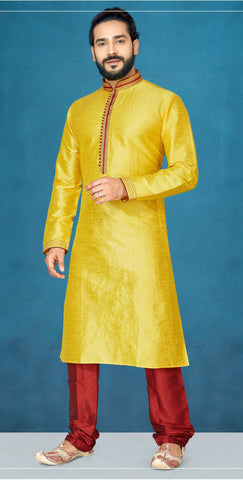 Yellow Color Emboss Men's Readymade Kurta Pyjama - RT-810