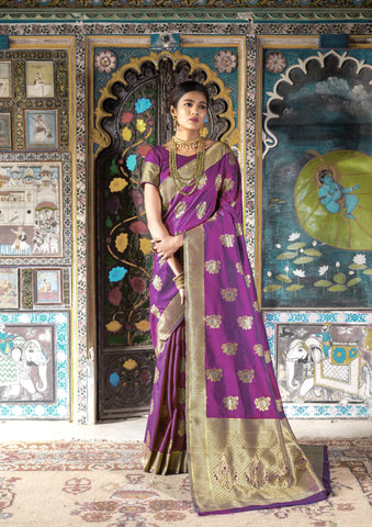 Purple Color Pure Weaving Silk Women's Saree - RT-81117