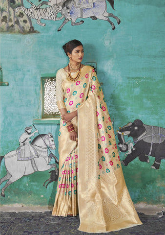 Off White Color Pure Weaving Silk Women's Saree - RT-81125