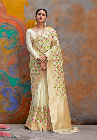 Off White Color Handloom Weaving Silk Women's Saree - RT-81127