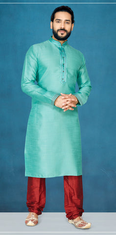 Sea Green Color Jacquard Silk Men's Readymade Kurta Pyjama - RT-811