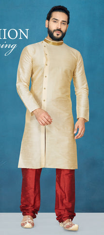 Cream Color Raw Silk Men's Readymade Kurta Pyjama - RT-812