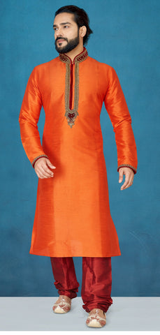 Orange Color Raw Silk Men's Readymade Kurta Pyjama - RT-813