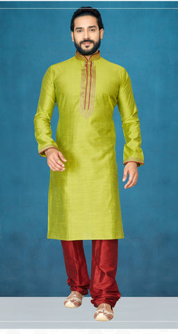 Olive Green Color Slub Men's Readymade Kurta Pyjama - RT-814