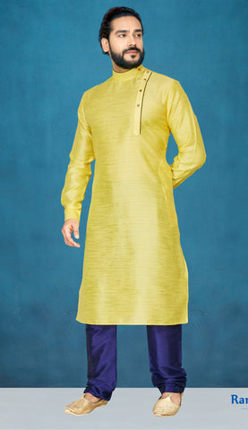 Yellow Color Jacquard Silk Men's Readymade Kurta Pyjama - RT-815
