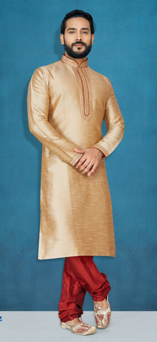 Beige Color Raw Silk Men's Readymade Kurta Pyjama - RT-816