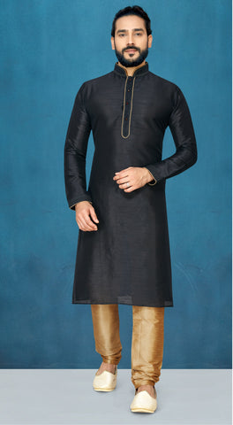 Black Color Raw Silk Men's Readymade Kurta Pyjama - RT-817