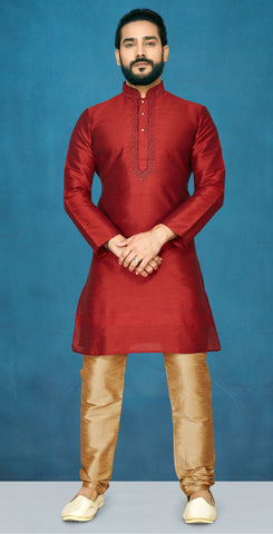 Maroon Color Raw Silk Men's Readymade Kurta Pyjama - RT-818